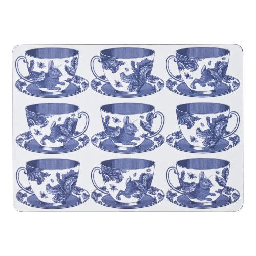 Teacup Set of 4 placemats, 29 x 21cm, White/Delft Blue