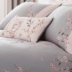 Embroidered Blossom Pair of pillowshams, 50 x 75cm, pink