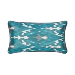 Ikat Cushion, 60 x 40cm, Verdigris/Jade green