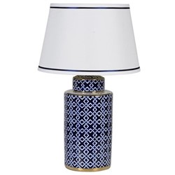 Lamp with shade, H70 x D43cm, gold edge, blue and white