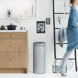 newIcon Touch bin, 30 litre, Metallic Grey