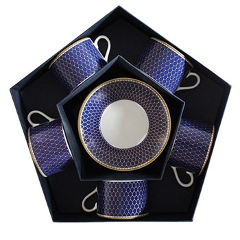 Antler Trellis Set of 5 teacups & saucers, midnight blue and gold