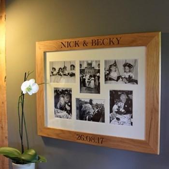 Bespoke engraved multi photo frame, L68 x W53 x D2cm