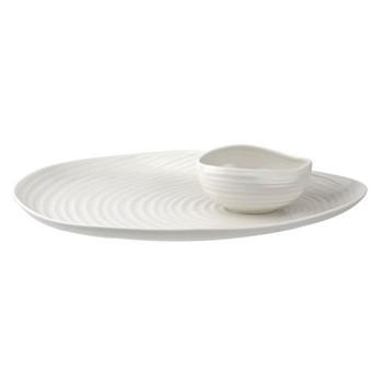 Serving platter & bowl, D35.5cm, white