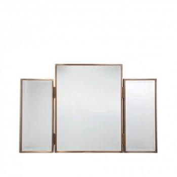 Finch Mirror, W84 x H55 x D3cm, brass/mango wood