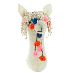 Mini wall mounted llama head, H34 x W12 x D25cm