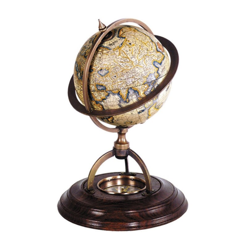 Terrestrial Globe with compass, H21 x D14.5cm, Honey Distressed Wood
