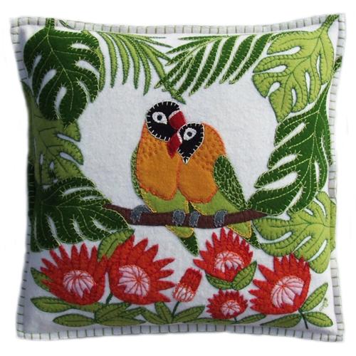 Tropical Love Birds Cushion, 38 x 38cm, Cream