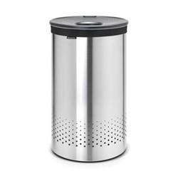 Laundry bin, 60 litre, matt steel body / dark grey plastic lid