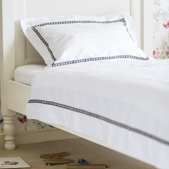 Little Stars - 800 Thread Count King size duvet cover, W230 x L220cm, grey on white sateen cotton