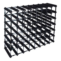 56 bottle wine rack kit, H62 x W81 x D22cm, black ash/galvanised steel
