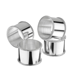 Bead Set of 4 mounted napkin rings, 25 Year Silver Plate