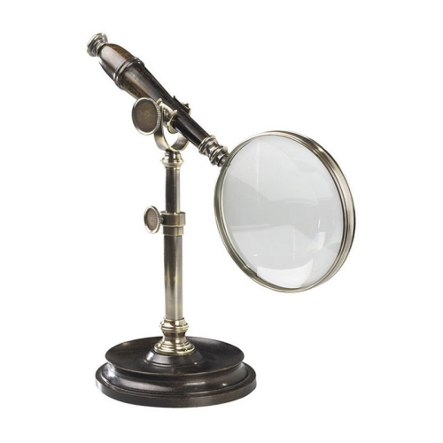 Magnifying glass with stand, H18 x W11 x L25cm, Rosewood/Bronzed Brass