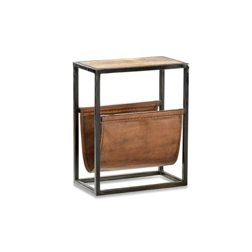 Alera Side table, H25 x W46 x L56cm, Natural & Brown Leather