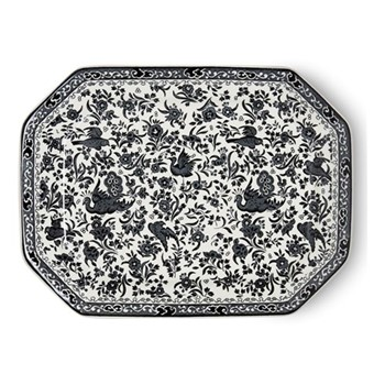 Regal Peacock Rectangular platter, 34cm, black
