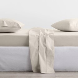 300 Organic Percale Superking fitted sheet, 180 x 203 x 38cm, sand