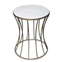 Venice Table - large, 45 x 35cm, iron and marble with antique gold effect finish