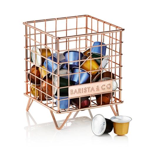 Pod Coffee capsule storage, 18 x 14 x 14cm, Copper