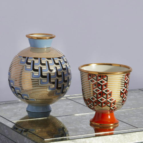Versailles Round vase, D19.68 x H23.49 x L19.68cm, Blue/Metallic Gold