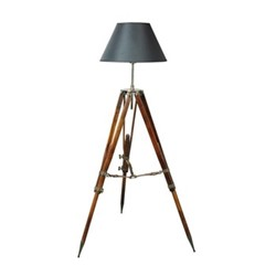 Campaign Tripod lamp, H118 x W80 x L80cm, honey distressed wood, black shade