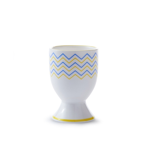 Wave Egg cup, H6.5cm, Yellow/Blue