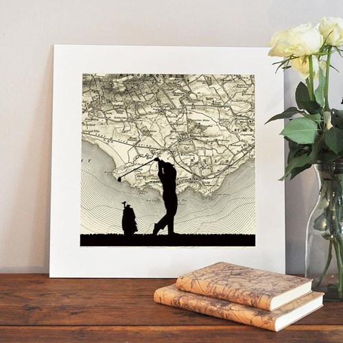 Golf Unframed silhouette image with personalised map, 35 x 30cm