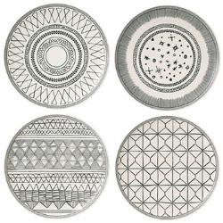 Ellen DeGeneres Gift Sets Set of 4 plates, 21cm, Charcoal Grey