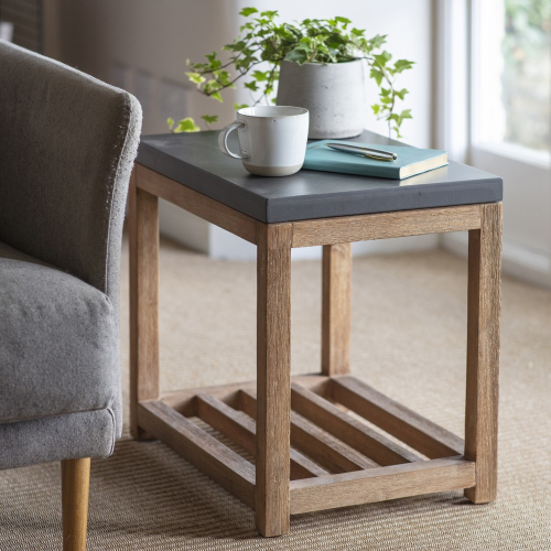 Chilson Side table with shelf, H46 x W50 x D34cm, Brown & Black