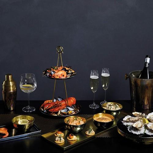 Serving platter and set of 3 bowls, L60 x W20 x H7cm, brass