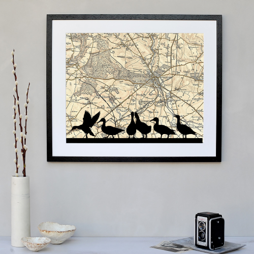 Ducks Framed silhouette image with personalised map, 43 x 48cm, black frame