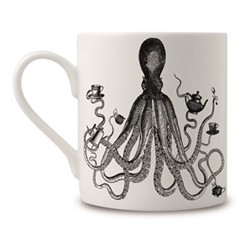 Octopus For Tea Mug, H9 x Dia 8cm, black/white
