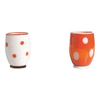 Bon Bon Set of 6 tumblers, 30cl, orange/white