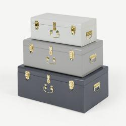 Gunner Set of 3 extra large storage trunks, Tonal Grey