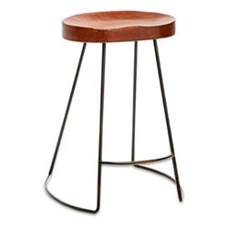 Loko Short leather stool, H60 x L38.5 x W28cm