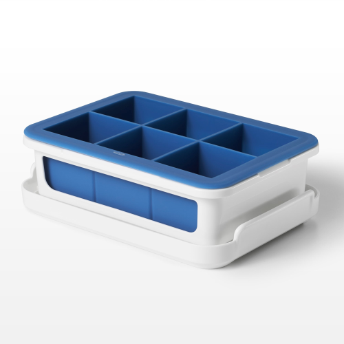 Covered silicone ice cube tray - large cubes
