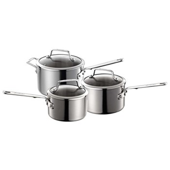 Authority Multi-Ply Clad 3 piece cookware set, 16, 18 & 20cm saucepans, stainless steel
