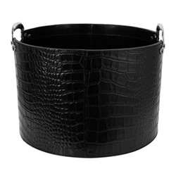 Leather storage basket H27 x W40 x L40cm