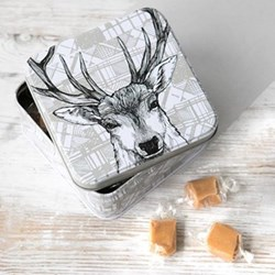 Stag Fudge tin, 12.7 x 12.7 x 5.9cm