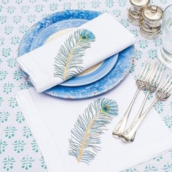 Peacock Feather Set of 4 napkins, 45 x 45cm, cotton