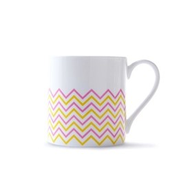 Wave Mug, H9cm - 37.5cl, pink/yellow