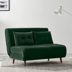 Haru 2 seater sofa bed, H78 x W120 x D86cm, Pine Green Velvet