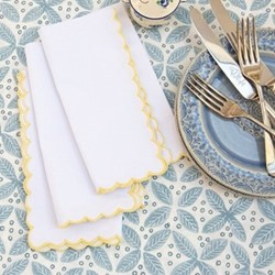 Scalloped Edge Napkin, 45 x 45cm, yellow cotton