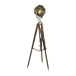 Coast Guard Patrol Floor lamp, H180.5 x W65 x L65cm, bronze / distressed wood