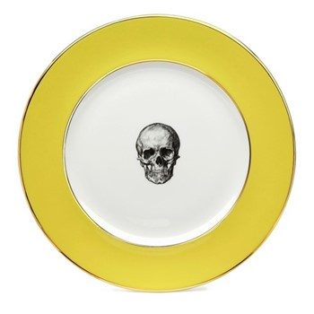Skull Dinner plate, 27cm, crisp white with yellow border/burnished gold edge