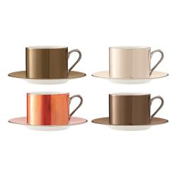Polka Set of 4 teacups and saucers, 250ml, assorted metallics