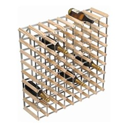 72 bottle wine rack, H81 x W81 x D23cm, natural/galvanised steel