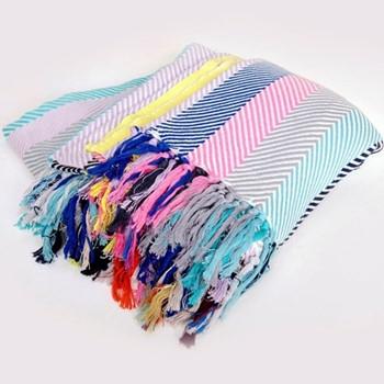 Herringbone Blanket, 200 x 240cm, multicoloured stripe
