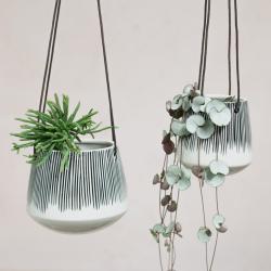 Matamba Small hanging planter, D10 x 11cm, Black Lines