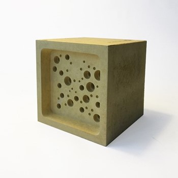 Bee Block Large bee house, 10.5 x 10.5 x 10.5cm, yellow