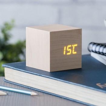 Cube Click Clock, L6.8 x W6.8 x H6.8cm, maple/orange